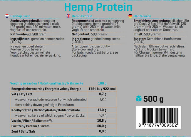 Pure Hennep Eiwit Nutritional Information 1