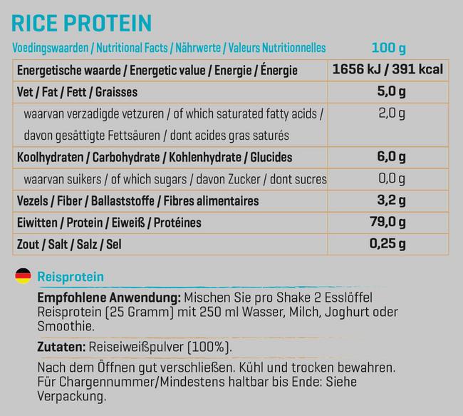 Pure Reisprotein Nutritional Information 1