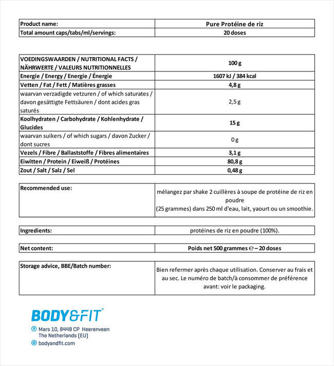 Protéines de riz Pure Rice Protein Nutritional Information 1