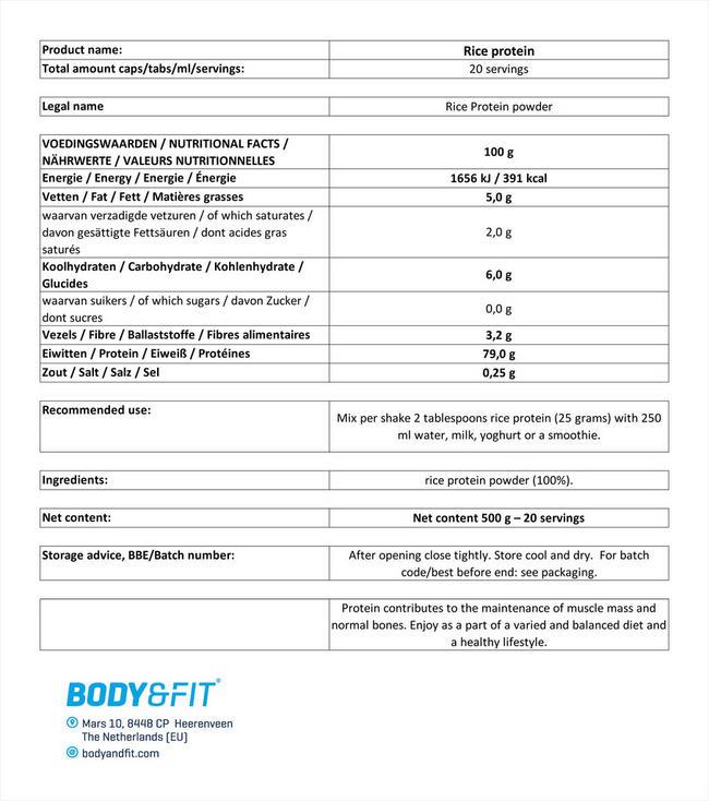 ピュアライスプロテイン Nutritional Information 1