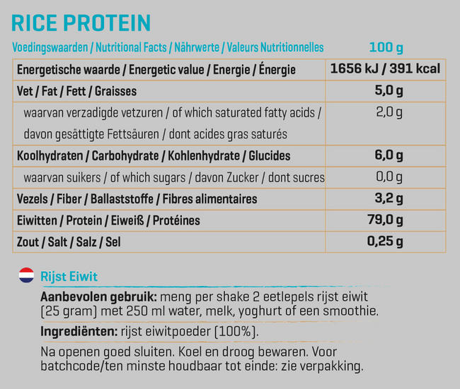 Pure Rijst Eiwit Nutritional Information 1