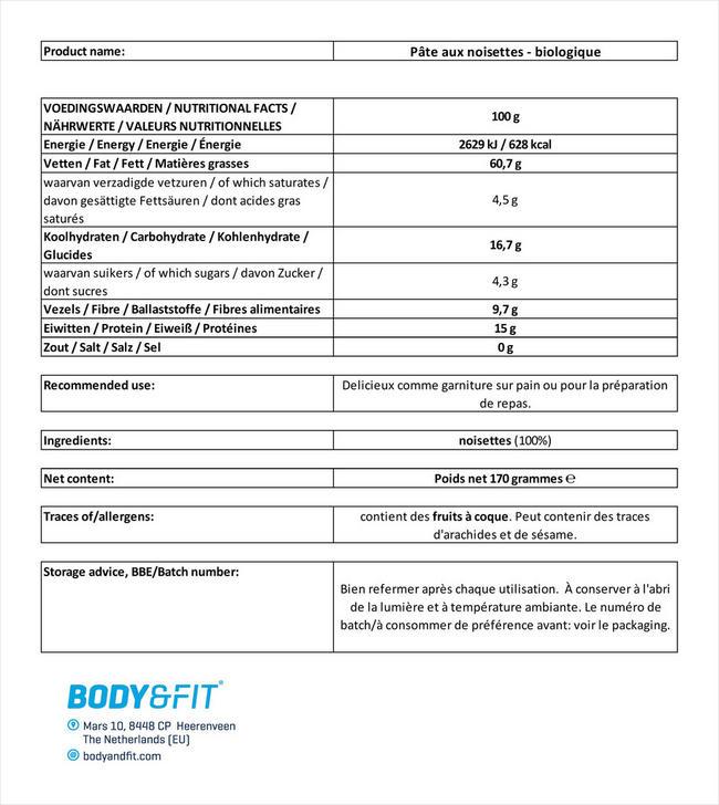 Beurre de noisette bio Hazelnut Butter Organic Nutritional Information 1
