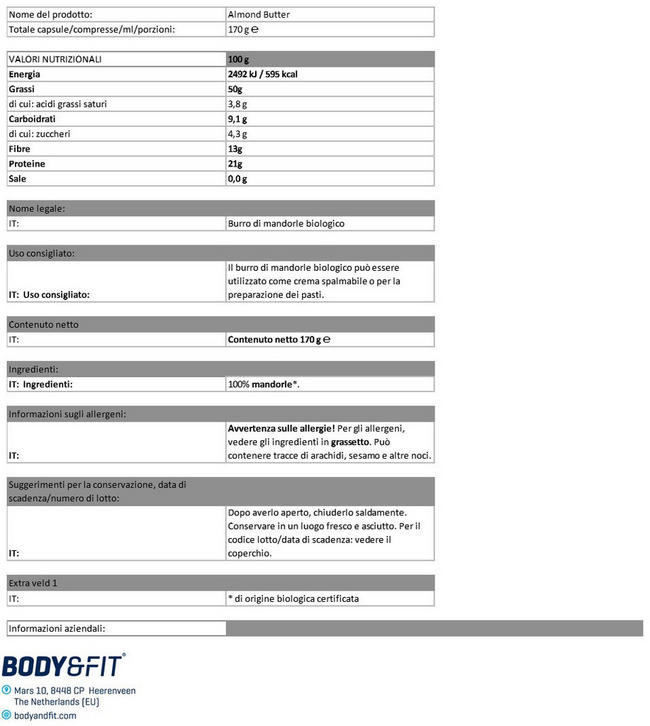 Burro di Mandorle Bio Nutritional Information 1