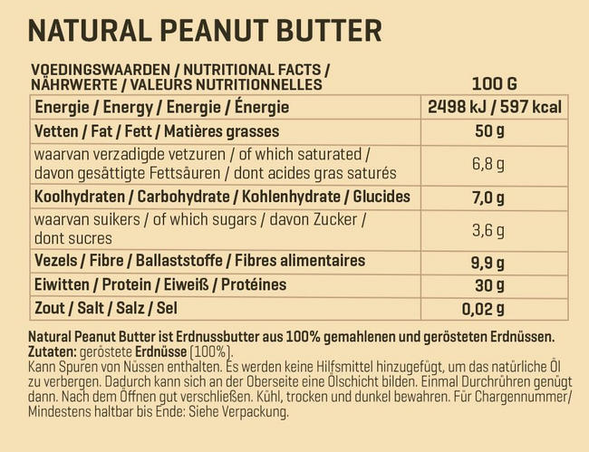 Natural Peanutbutter Nutritional Information 1