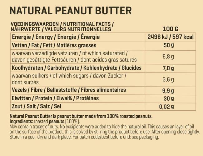 ナチュラルピーナッツバター Nutritional Information 1