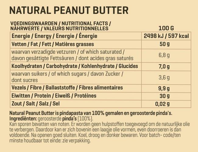 Naturel Pindapasta Nutritional Information 1