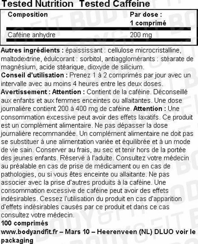 Tested Caffeine Nutritional Information 1
