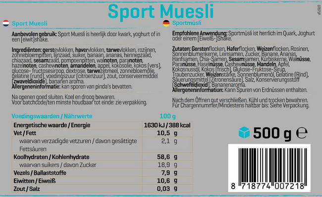 Sportmüsli Nutritional Information 1