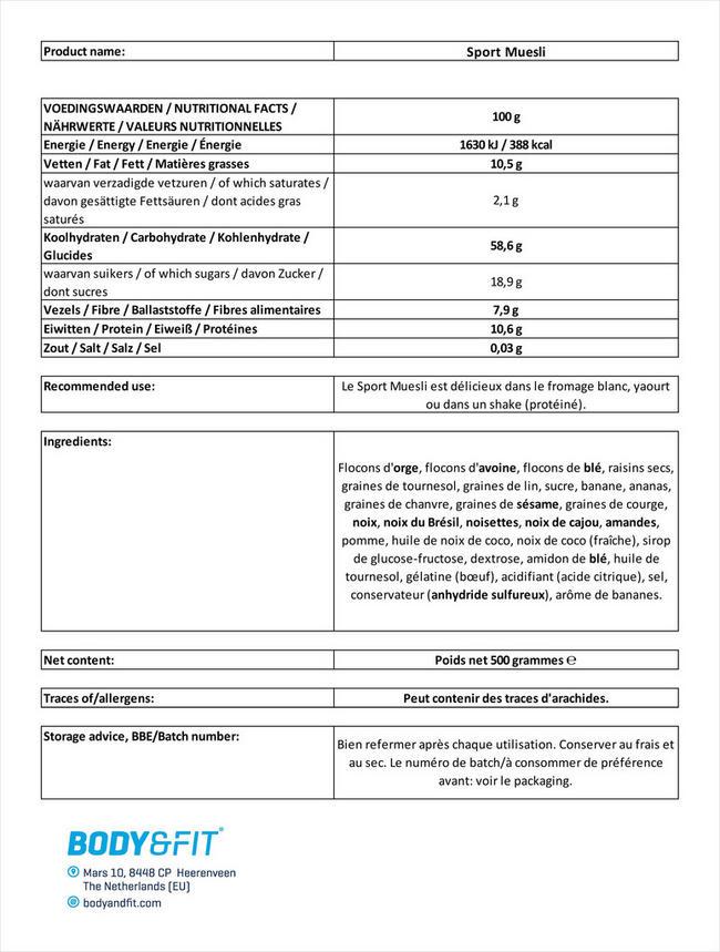 Sport Muesli Nutritional Information 1