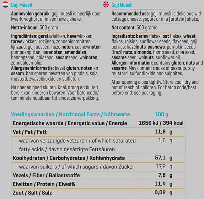 Muesli aux Goji Nutritional Information 1