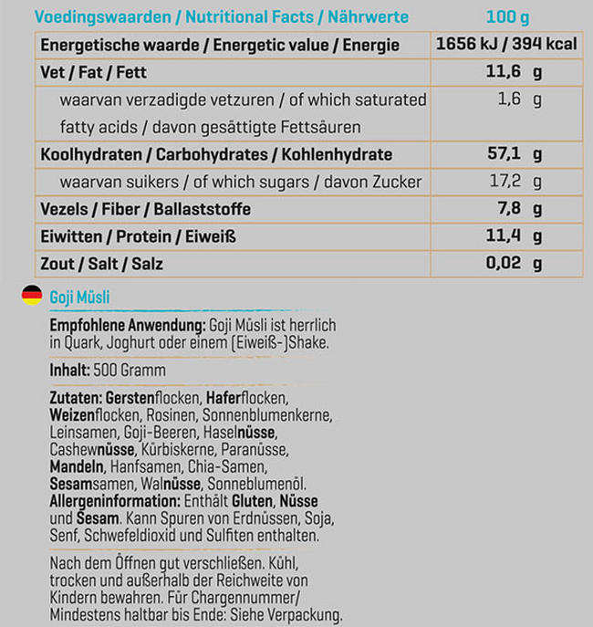 Muesli aux Goji Nutritional Information 2