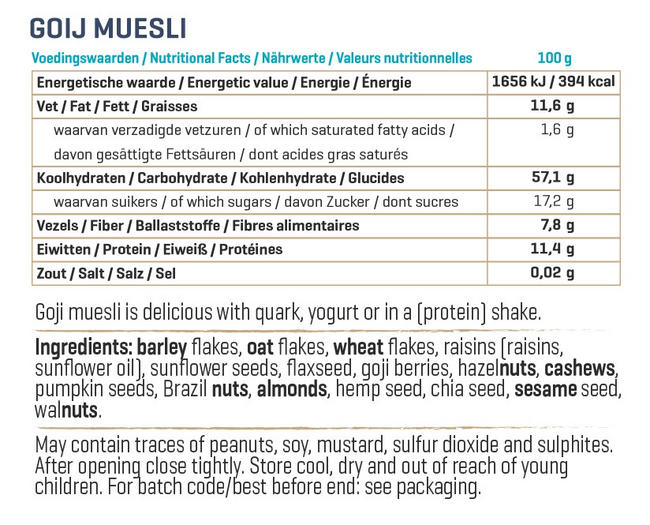 Muesli aux Goji Nutritional Information 3