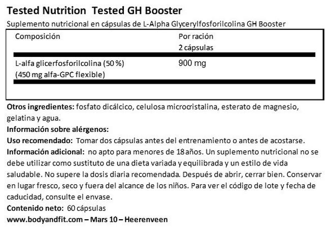 Tested GH Booster Nutritional Information 1