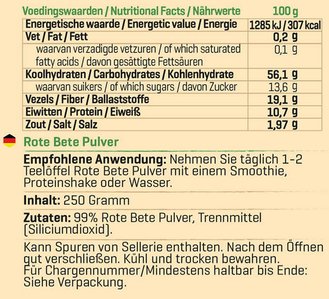 Pure Rote Bete Pulver Nutritional Information 1