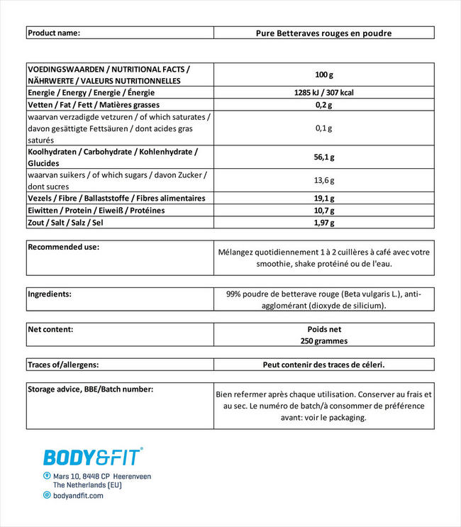 Pure Betteraves rouges en poudre Nutritional Information 1