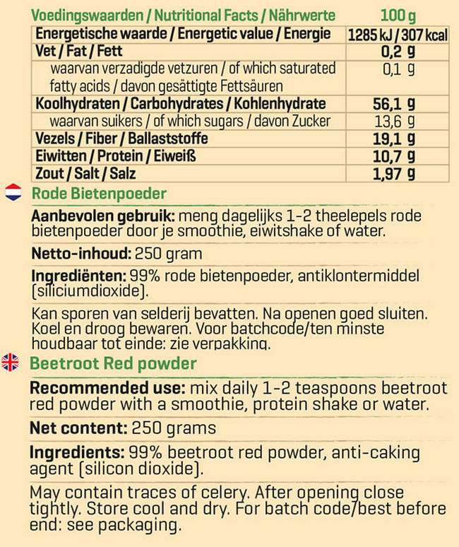 Pure Rode Bieten poeder Nutritional Information 1