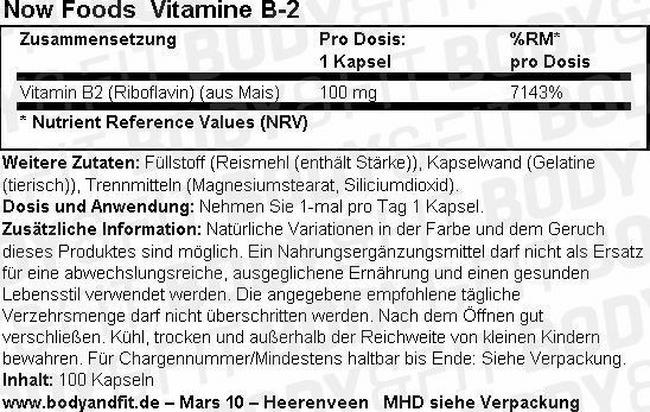 Vitamin B-2 Nutritional Information 1