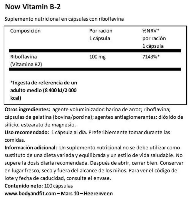 Vitamin B2 Nutritional Information 1