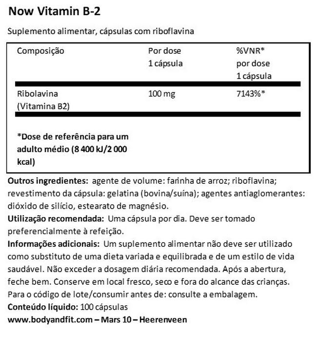 Vitamina B2 Nutritional Information 1