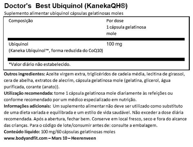 Best Ubiquinol (KanekaQH®) Nutritional Information 1