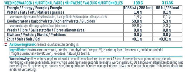 Creapure Tasty Tabs Nutritional Information 1