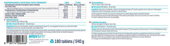Creapure Tasty Tabs Nutritional Information 2