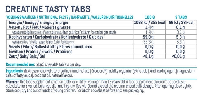 Creapure Tasty Tabs Nutritional Information 3