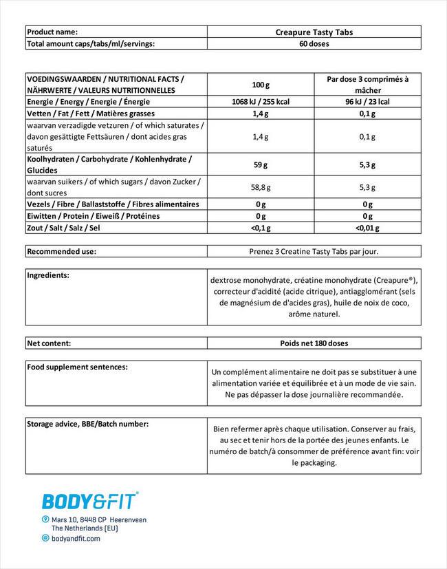 Creapure® Tasty Tabs Nutritional Information 1