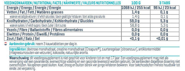 Creapure® Tasty Tabs Nutritional Information 1