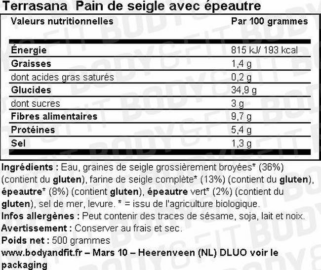 Pain de seigle avec épeautre Nutritional Information 1