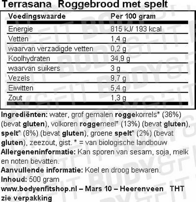Roggebrood met Spelt Nutritional Information 1