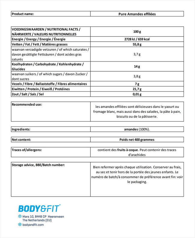 Pure Amandes effilées Nutritional Information 1