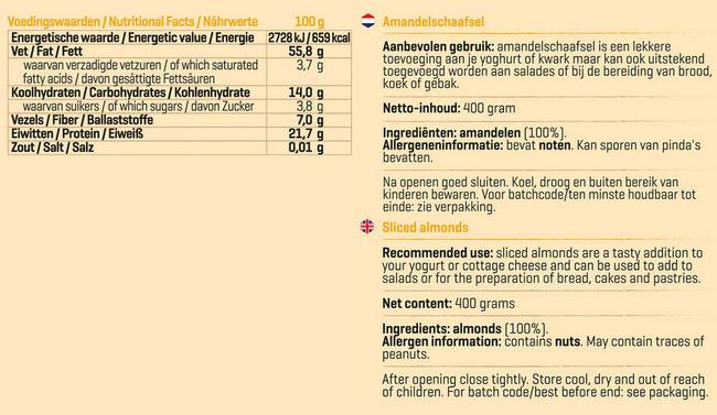 Pure Amandelschaafsel Nutritional Information 1