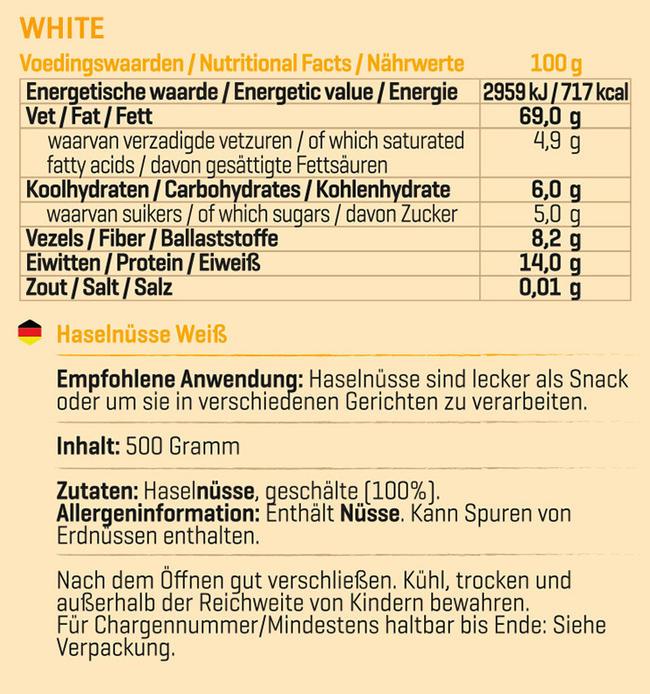 Haselnüsse (weiß) Nutritional Information 2