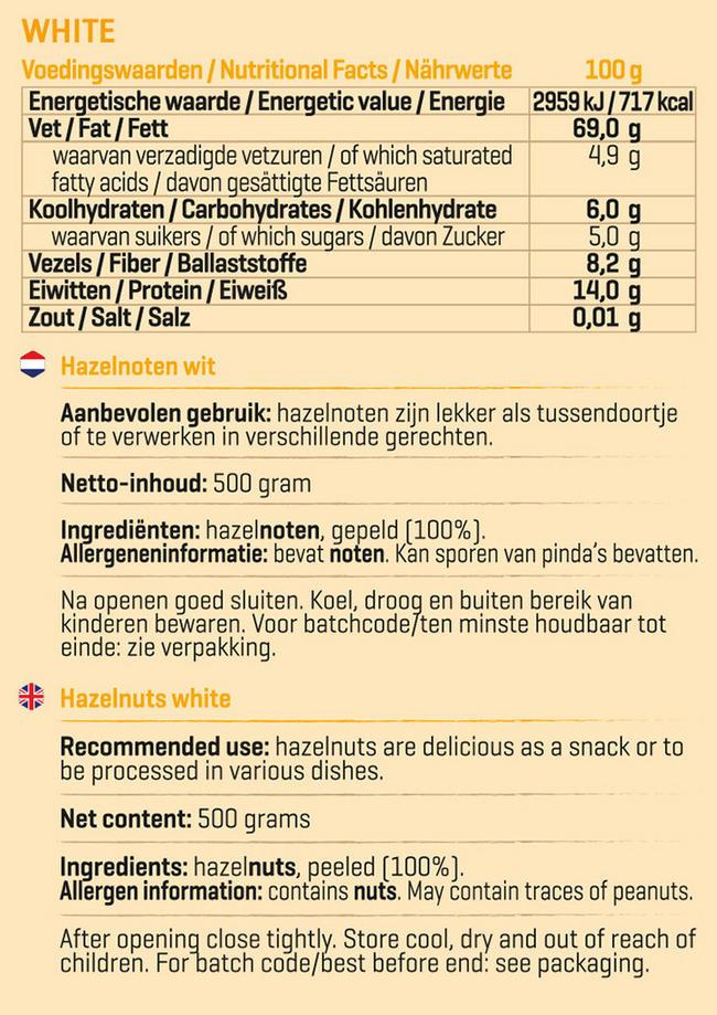 Pure Hazelnoten wit Nutritional Information 1