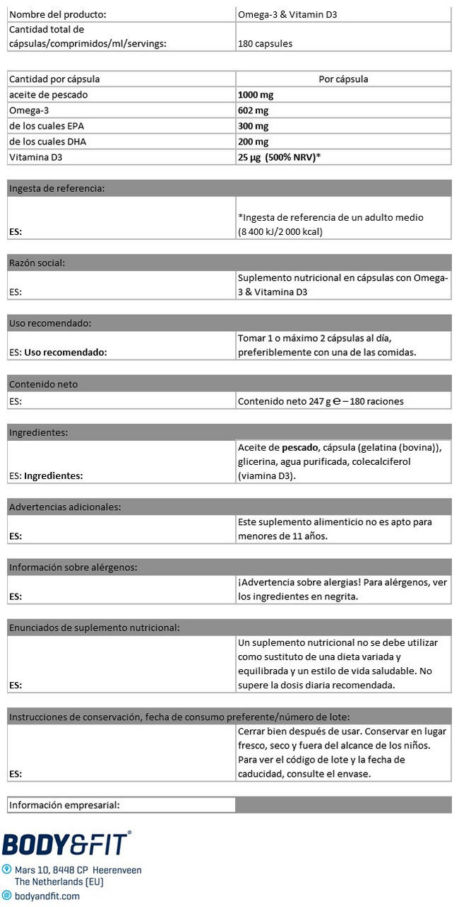 Omega 3 y Vitamina D3 Nutritional Information 1