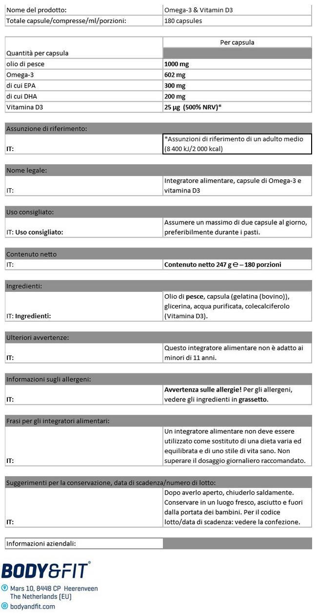 Omega-3 + Vitamin D3 Nutritional Information 1