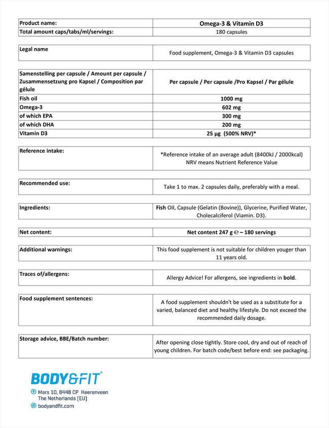 オメガ3 + ビタミンD3 Nutritional Information 1
