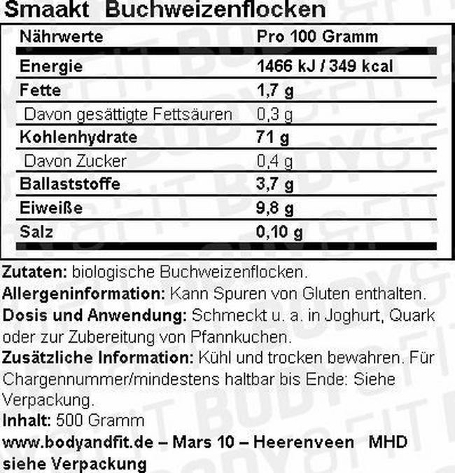 Buchweizenflocken Nutritional Information 1