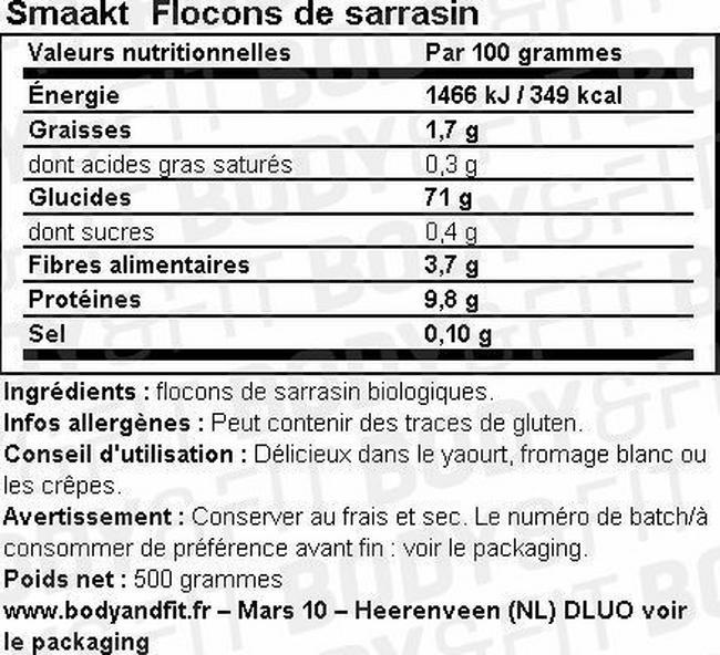 Flocons de sarrasin Nutritional Information 1