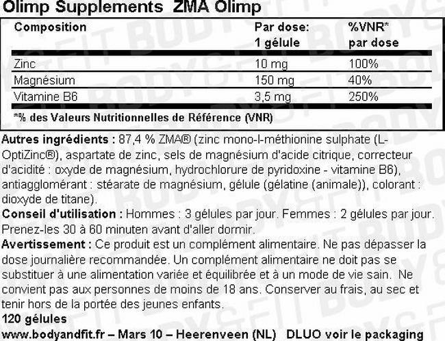 ZMA Olimp Nutritional Information 1