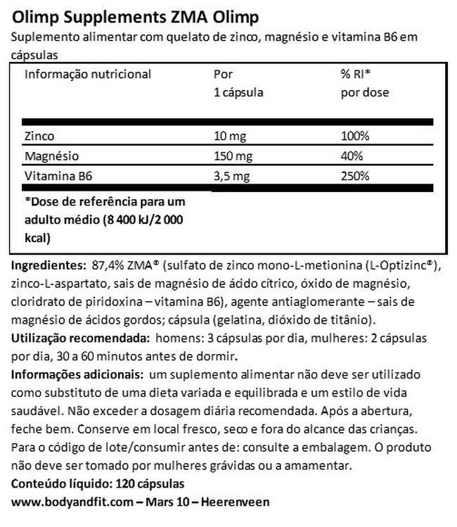 ZMA Olimp Nutritional Information 1
