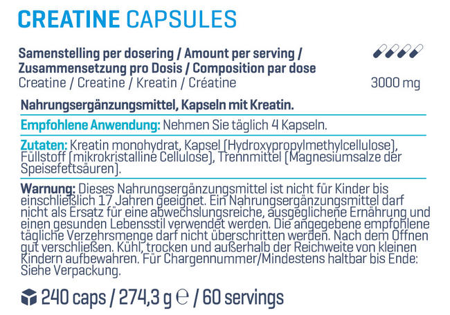 Creatine Kapseln Nutritional Information 1