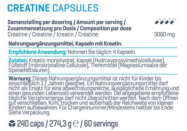 Creatine Kapseln Nutritional Information 1