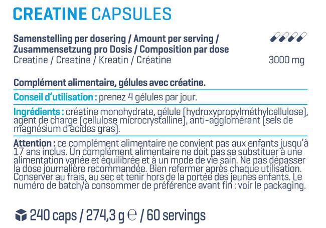 Gélules de créatine Nutritional Information 1