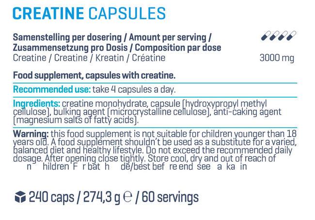 クレアチン カプセル Nutritional Information 1