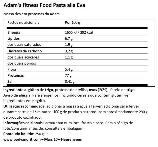 Pasta alla Eva Nutritional Information 1