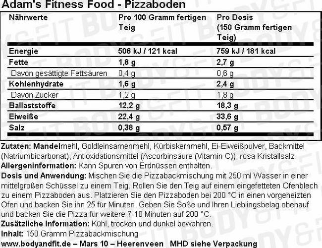 Adam's Pizza Nutritional Information 1