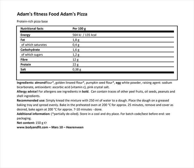 アダムズ ピザ Nutritional Information 1