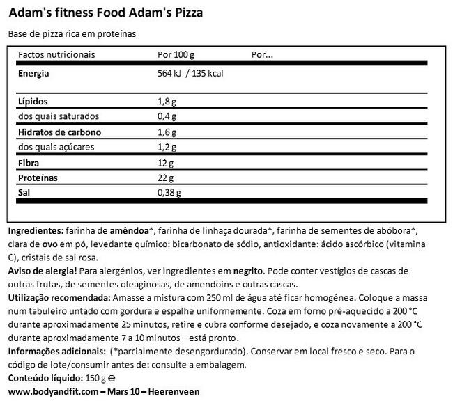 Adam's Pizza Nutritional Information 1